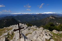 Mon de deu. Landscape of pirenneus with snowy mountains Stock Images