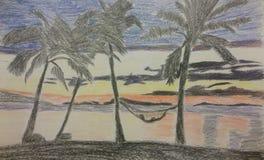 Mon dessin au crayon de couleur Images stock