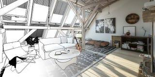 Mon endroit sous l'ébauche panoramique du toit 02 illustration de vecteur