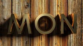 MON-het messing schrijft op ruw hout - het 3D teruggeven Royalty-vrije Stock Foto's