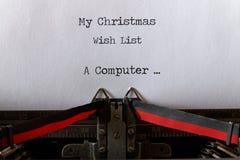 Mon list d'envie de Noël, style ancien un ordinateur Image libre de droits