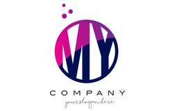 MON M Y Circle Letter Logo Design avec Dots Bubbles pourpre Photographie stock libre de droits