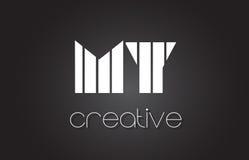MON M Y Letter Logo Design With White et lignes noires Photographie stock