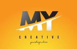 MON M Y Letter Modern Logo Design avec le fond jaune et le Swoo illustration libre de droits