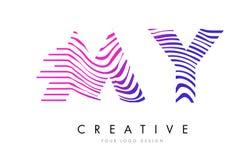 MON M Y Zebra Lines Letter Logo Design avec des couleurs magenta Image stock