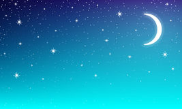 Mon in nigt star sky. Moon in the night starry sky, vector art illustration Royalty Free Stock Photo
