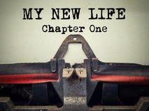 Mon nouveau plan rapproché de machine à écrire de vintage du chapitre un de la vie photo libre de droits