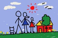 Mon papa et maman et moi et à la maison Photo stock