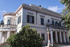 Mon Repos palace which was built in 1924 by High Commissioner Frederick Adam and became later property of the Greek royal family. Prince Philip the Duke of royalty free stock image