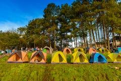 Mon Sone View Point, Doi Pha Hom Pok National Park,  Doi Ang Kha. Chiang mai, Thailand - 20 NOV 2017 : Tourists and Campground tents, Mon Sone View Point, Doi Royalty Free Stock Images