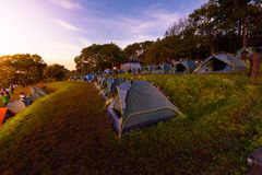 Mon Sone View Point, Doi Pha Hom Pok National Park,  Doi Ang Kha. Chiang mai, Thailand - 20 NOV 2017 : Tourists and Campground tents, Mon Sone View Point, Doi Royalty Free Stock Image