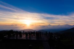 Mon Sone View Point, Doi Pha Hom Pok National Park,  Doi Ang Kha. Chiang mai, Thailand - 20 NOV 2017 : Tourists and Campground tents, Take a Photo at Mon Sone Royalty Free Stock Images