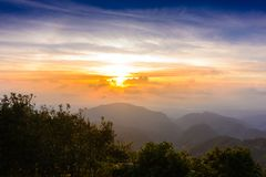 Mon Sone View Point, Doi Pha Hom Pok National Park, Angkhang mou. Sea of mist, Tourists and Campground tents, View from Mon Sone View Point, Doi Pha Hom Pok stock images