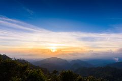 Mon Sone View Point, Doi Pha Hom Pok National Park, Angkhang mou. Sea of mist, Tourists and Campground tents, View from Mon Sone View Point, Doi Pha Hom Pok stock image