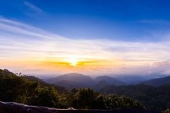 Mon Sone View Point, Doi Pha Hom Pok National Park, Angkhang mou. Sea of mist, Tourists and Campground tents, View from Mon Sone View Point, Doi Pha Hom Pok Royalty Free Stock Photography