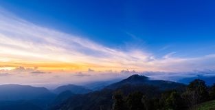 Mon Sone View Point, Doi Pha Hom Pok National Park, Angkhang mou. Sea of mist, Tourists and Campground tents, View from Mon Sone View Point, Doi Pha Hom Pok Royalty Free Stock Image