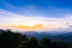 Mon Sone View Point, Doi Pha Hom Pok National Park, Angkhang mou. Sea of mist, Tourists and Campground tents, View from Mon Sone View Point, Doi Pha Hom Pok royalty free stock images