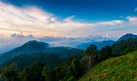 Mon Sone View Point, Doi Pha Hom Pok National Park, Angkhang mou. Sea of mist, Tourists and Campground tents, View from Mon Sone View Point, Doi Pha Hom Pok royalty free stock photo