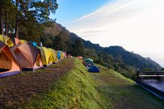 Mon Sone View Point, Doi Pha Hom Pok National Park,  Doi Ang Kha. Chiang mai, Thailand - 20 NOV 2017 : Tourists and Campground tents, Mon Sone View Point, Doi Stock Photography