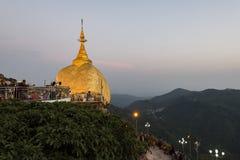 Mon State, Myanmar - May 6, 2017: Kyaikhtiyo Pagoda and Golden Rock, Mon State, Myanmar Royalty Free Stock Images