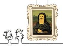 Mona Lisa cartoon. Hand drawn characters vector illustration
