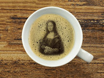 Mona lisa in coffee froth Stock Images