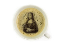 Mona lisa in coffee froth Stock Photo