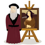 Mona Lisa Easel and Leonardo Da Vinci Stock Image