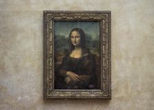 Mona Lisa at the Louvre Museum without tourists stock photo