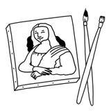 Mona Lisa painting black and white illustration. Mona Lisa canvas painting with brushes illustration; Paintbrushes and canvas black and white drawing Royalty Free Stock Photos