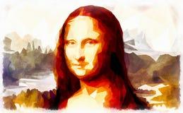 Mona Lisa pelo efeito de Leonardo da Vinci e do poligon ilustração royalty free