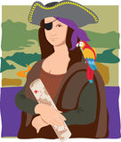 Mona Lisa Pirate. The Mona Lisa dressed as a pirate with a parrot on her shoulder and a treasure map in her hand Royalty Free Stock Photos