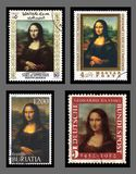 Mona Lisa postage stamps Royalty Free Stock Photography