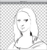 Mona Lisa Sketch in DTP. Window. Vector Royalty Free Stock Images