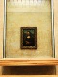 Mona Lisa Za Kuloodpornym szkłem Zdjęcia Royalty Free