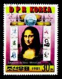Mona Lisa, zes Franse zegels, Internationale Zegeltentoonstelling PHILEXFRANCE, Parijs serie, circa 1981 Royalty-vrije Stock Foto