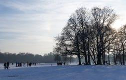 MONACHIUM †'STYCZEŃ 28: Ludzie cieszy się piękną pogodę podczas wi Zdjęcia Royalty Free