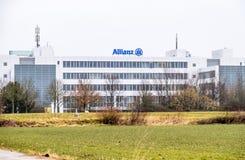 Monachium Niemcy, Luty, - 16 2018: Allianz kwatery główne lokalizują w mieście Monachium, Niemcy zdjęcie royalty free