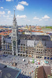 Monachium urząd miasta i Marienplatz kwadrat widok z lotu ptaka Fotografia Royalty Free