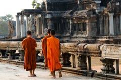 Monaci - Angkor Wat - Cambogia Immagine Stock Libera da Diritti