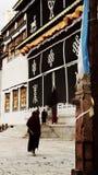 Monaci che camminano nel tempio del pino fotografie stock