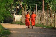 Monaci in Luang Prabang Laos Fotografia Stock Libera da Diritti