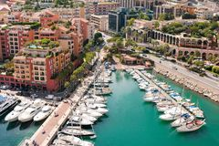 Monaco. Harbour with yachts and motor boats Royalty Free Stock Image