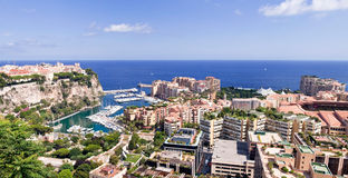 Monaco. Panoramic view overlooking part of the city of Monaco stock photography