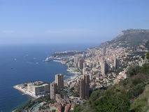 Monaco. View of Monaco from a nearby mountain, showing the principality and its coastline stock photography