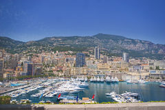 Monaco. General view from Monaco bay with  luxury port with yachts and boats Stock Photography