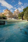 Monaco. View of beautiful rich building and fountain in Monaco royalty free stock photos