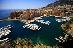 Monaco. Panoramic scenery of bay of Monaco with blue sky stock photo