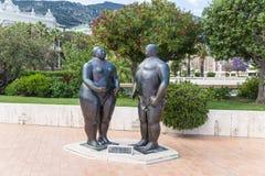 Monaco. Adam- und Eve-Skulptur Stockbild