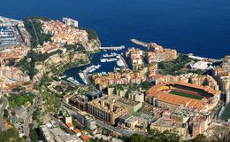 Monaco, aerial view of Fontvieille. Aerial view of Monaco districts of Fontvieille and Rocher Stock Photography